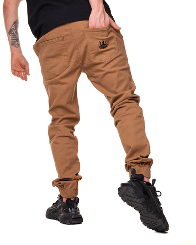 Spodnie Materiałowe Jogger Jigga Wear Crown Miodowe / Czarne