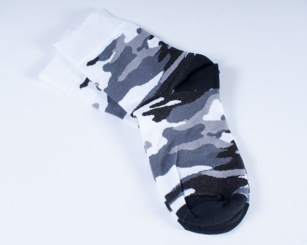 BLUD SKARPETKI DŁUGIE WOODLAND BLACK-WHITE
