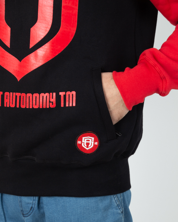 Bluza Hoodie Street Autonomy Color Arm Black-Red