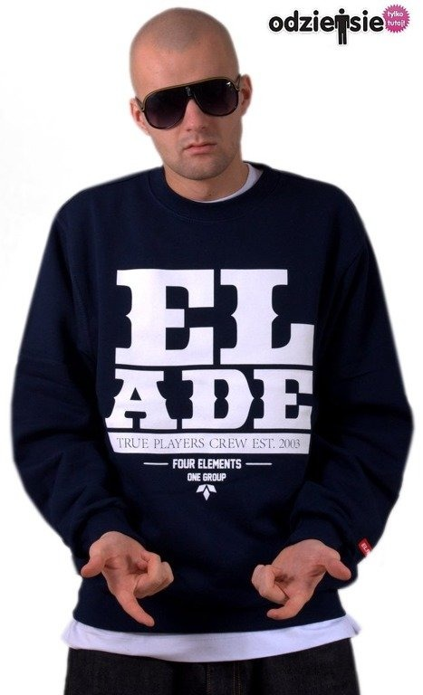 ELADE BLUZA BEZ KAPTURA CUT WORD NAVY BLUE