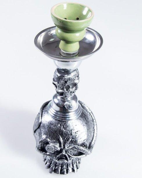 Fajka Shisha Skull Silver Black-Green