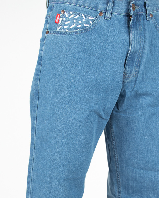 Jeans El Polako baggy Lines and Dots Light Blue