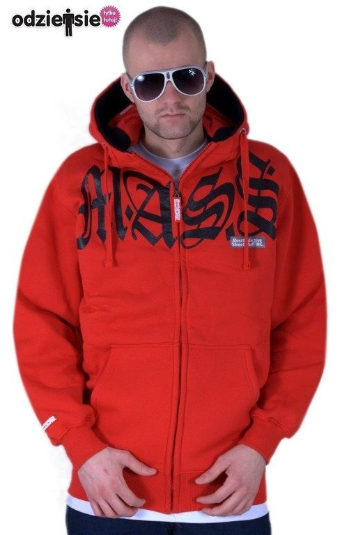 MASS BLUZA Z KAPTUREM ZIP VALHALLA RED