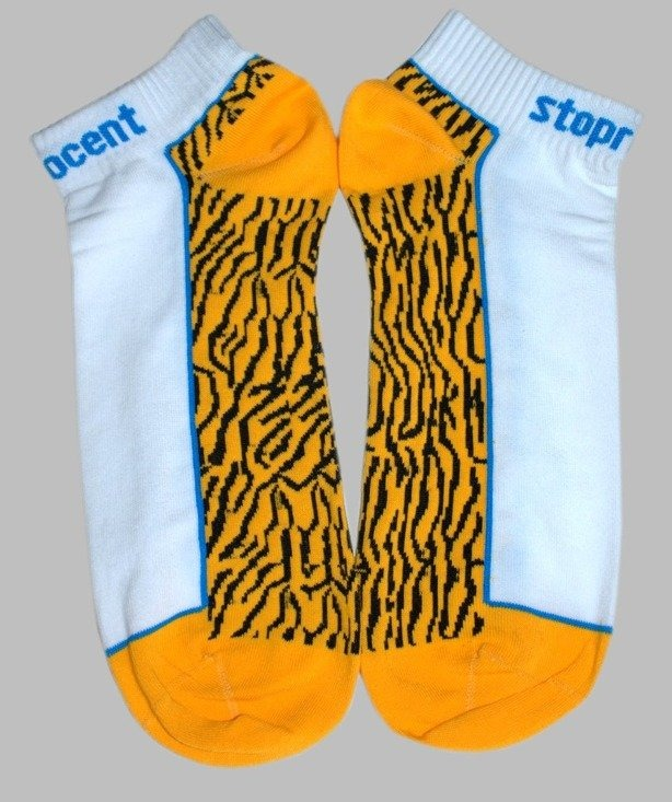 STOPROCENT SKARPETKI TIGER WHITE-YELLOW