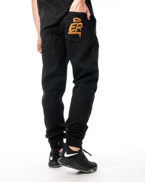 Spodnie Jeans Jogger Slim El Polako Ep Tag Czarne / Złote