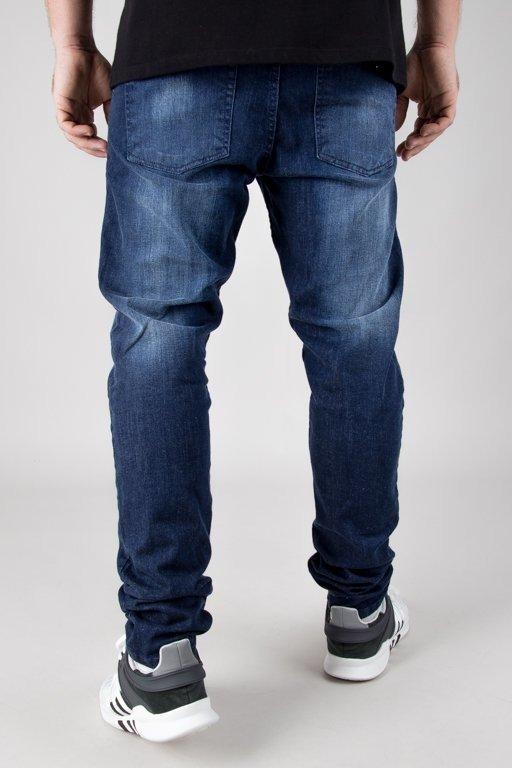 Spodnie SSG Jeansy Straight Fit Guma Przecierane Dark